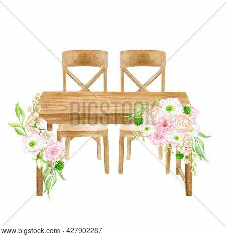 Watercolor Head Table With Flower Arrangement Isolated On White. Hand Painted Wood Sweetheart Table,