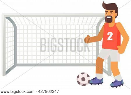 Football Player With Ball. Soccer Trainer Near Gates With Net On Playing Field Isolated On White Str