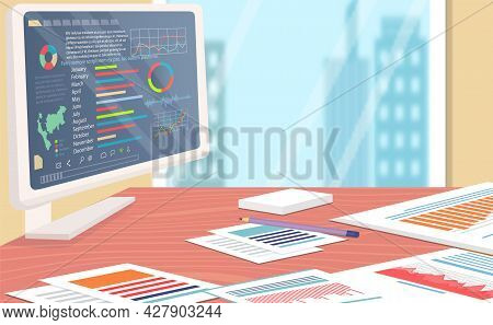 Stocks Market Graph And Chart On Computer Screen On Table In Office. Technical Analysis Candlestick