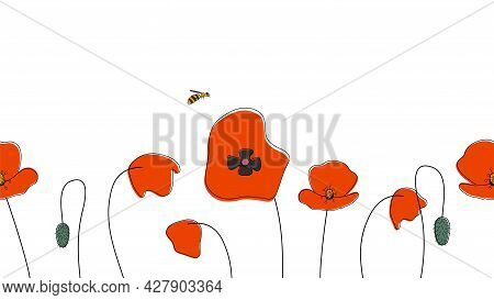 Seamless Border Of Poppies Hand Drawn In Simplified Children Cartoon Naive Style On White Background