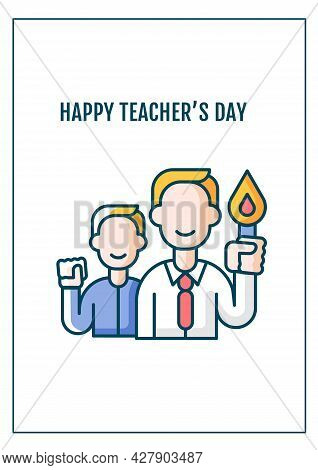 Happy Teacher Day Greeting Card With Color Icon Element. Honoring Educator Contributions. Postcard V