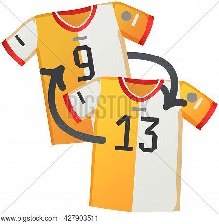 Sport Uniform Jersey, Soccer Shirt Flat Vector Clothing Element Isolated On White Background. Clothi