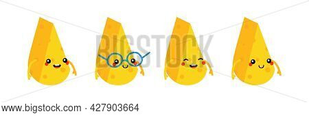 Cute And Smiling Cartoon Style Cheese Chunks, Dairy Products Characters Vector Icons, Illustration.