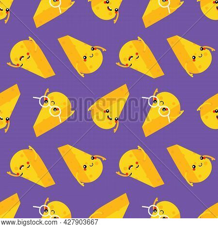 Cute And Funny Cartoon Style Cheese Chunks, Dairy Products Characters Vector Seamless Pattern Backgr