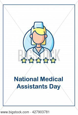 Medical Assisting Profession Recognition Day Greeting Card With Color Icon Element. Postcard Vector
