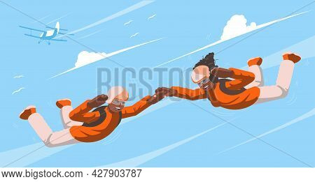 Parachutists Soar In The Sky. Skydiving. View Of A Couple Flying In The Sky. In The Background A Rec