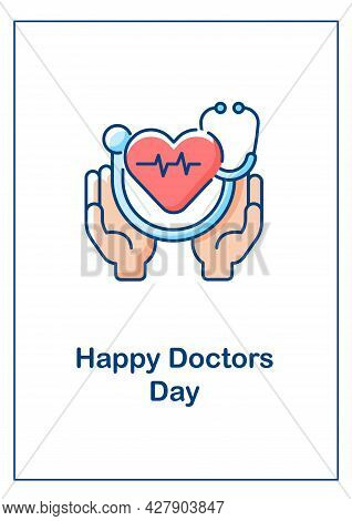 Happy Doctors Day Greeting Card With Color Icon Element. Honoring Medical Staff Contributions. Postc