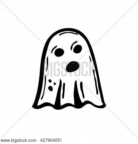 Ghost. Paranormal Creature. Black Ink Vector Illustration. Witch Element. Halloween Design. Isolated