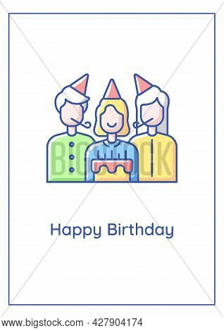Happy Birthday Wishes To Family Member Greeting Card With Color Icon Element. Birthday Party. Postca