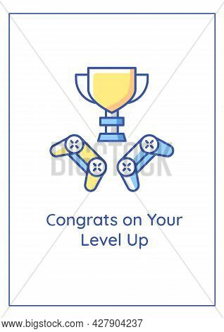 Congrats On Level Up Greeting Card With Color Icon Element. Birthday Wishes For Teenager. Postcard V
