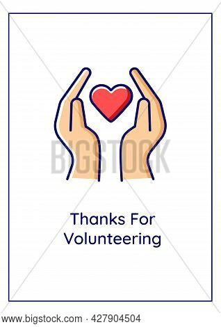 Thanks For Volunteering Greeting Card With Color Icon Element. Showing Respect. Postcard Vector Desi