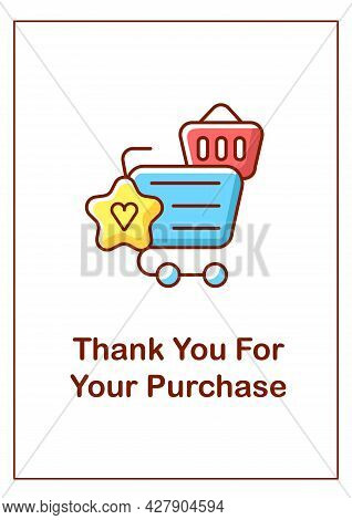 Thank You For Purchase Greeting Card With Color Icon Element. Building Consumer Loyalty. Postcard Ve