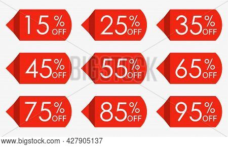 Sale Price Tag Set. Red Discount Icons Or Stickers. 15,25,35,45,55,65,75,85,95 Percent Off. Vector I