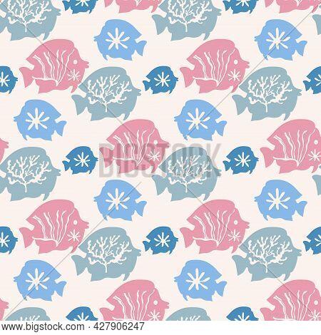Underwater Marine Flora Seamless Pattern  Of Seaweeds, Corals,  Marine Algae And Seashells, Jellyfis