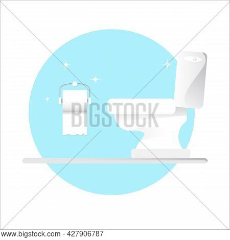 Toilet Bawl Icon With Toilet Paper Roll Isolated On Blue Background. Flat Toilet Room Icon. Vector C
