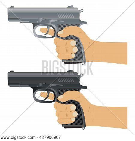 Gun. Pistol. Pistol In Hand. Weapons Ready For Use.