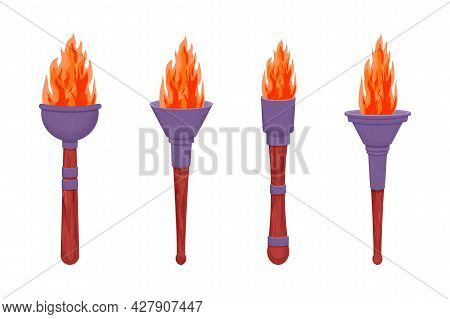Set Medieval Torch With Flame In Cartoon Style Isolated On White Background. Antique Lamp, Winer Sym