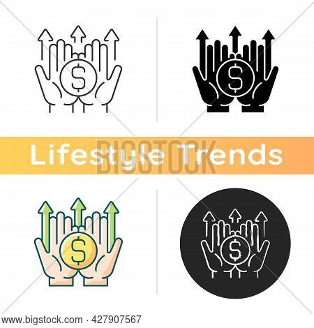 Wealth Building Icon. Making Financial Decisions. Generating Long-term Income. Forward-thinking Reti