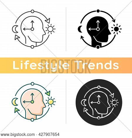 Circadian Rhythms Icon. Internal Daily Clock. Optimize Cognitive Function For Daytime. Sleep Wake Cy