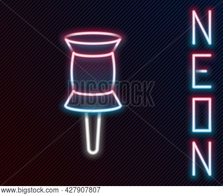 Glowing Neon Line Push Pin Icon Isolated On Black Background. Thumbtacks Sign. Colorful Outline Conc