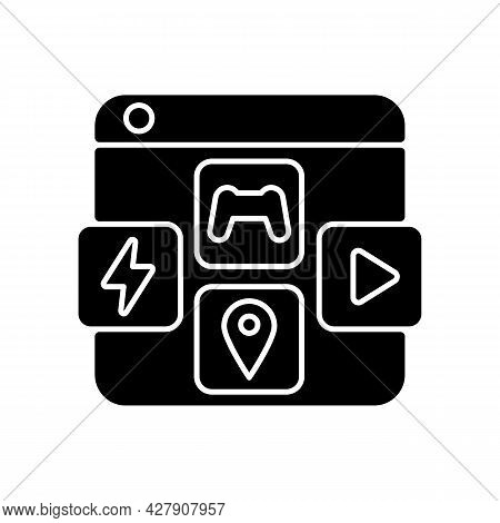 App Distribution Platforms Black Glyph Icon. Applications For Mobile Devices. Promoting App Usage. D