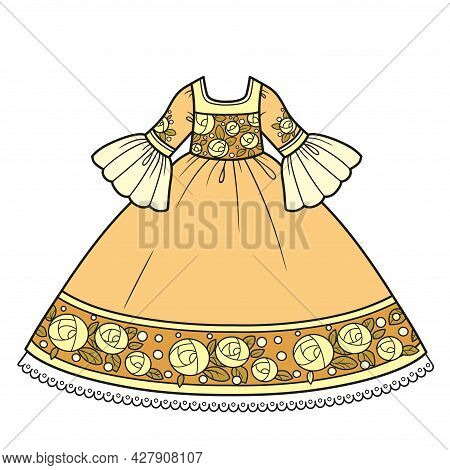 Ball Gown With Lush Skirt And Rose Embroidery For Princess Outfit Color Variation For Coloring Page