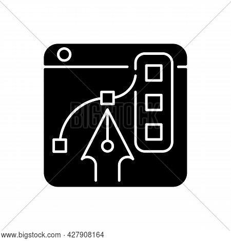 Graphic Design Platforms Black Glyph Icon. Tool For Experienced Digital Artists. Illustrations Editi
