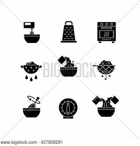 Food Cooking Instruction Black Glyph Icons Set On White Space. Beat Ingredient In Bowl. Grate For Cu
