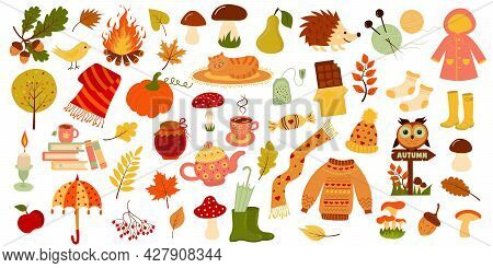 Autumn Set.  Hello Autumn, Fall Season Icons Collection. Perfect For Web, Card, Poster, Cover, Tag,