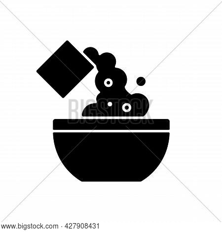 Add Cooking Ingredient Black Glyph Icon. Pour Flour To Mixture. Baking Guide Step. Cooking Instructi