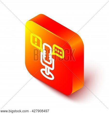 Isometric Line Freedom Of Speech Icon Isolated On White Background. Freedom Of Expression. Orange Sq