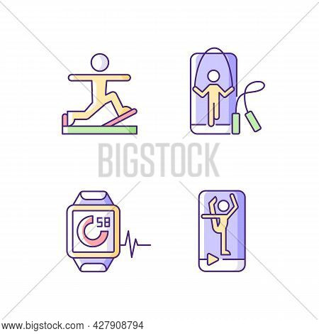 Online Fitness Gymnastic Trends Rgb Color Icons Set. Pilates, Stretching And Jumping Workout. Fitnes