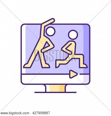 Online Fitness Classes Rgb Color Icon. Home Instructional Video Offer. Wide Efficient Courses Range.