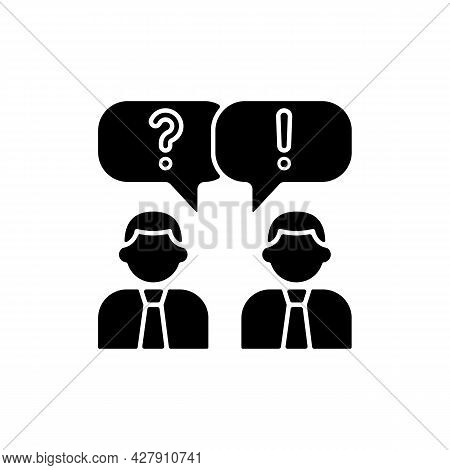 Communication Black Glyph Icon. People Talking. Verbal And Nonverbal Communication. Business Convers