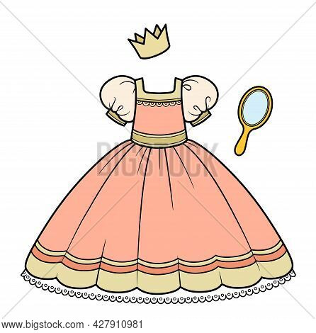 Peach Colour Ball Gown With Fluffy Skirt, Hand Mirror And Crown Princess Outfit Color Variation For