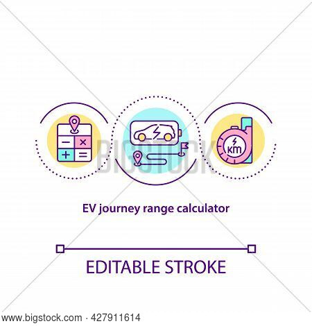 Ev Journey Range Calculator Concept Icon. Electric Vehicles Dimension Abstract Idea Thin Line Illust