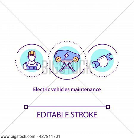 Electric Vehicles Maintenance Concept Icon. Ev Service Requirements Abstract Idea Thin Line Illustra