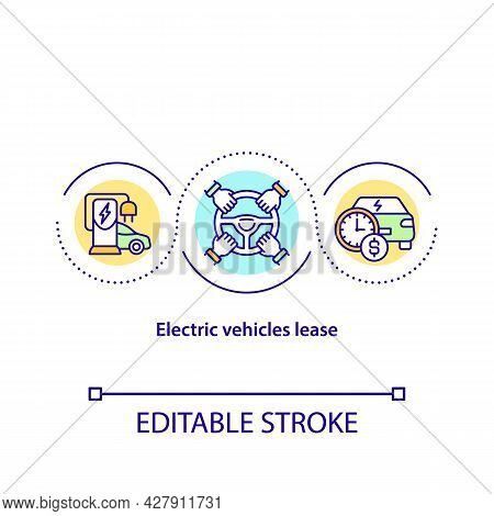 Electric Vehicles Lease Concept Icon. Ev Renting Service Abstract Idea Thin Line Illustration. Buisn