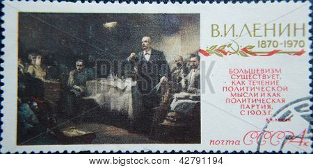 RUSSIA - CIRCA 1970: stamp printed by USSR shows socialist lider Lenin conversation with people
