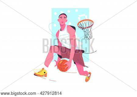 Cool Basketball Player In Sportswear Vector Illustration. Athlete Jump With Ball Flat Style. Sport,
