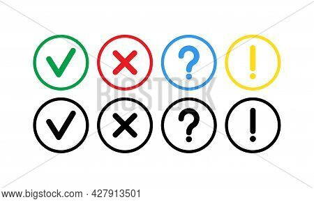 Warning Exclamation Question Vector Set Of Flat Vector Mark Buttons Green Check Marks And Red Crosse