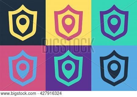 Pop Art Location Shield Icon Isolated On Color Background. Insurance Concept. Guard Sign. Security,