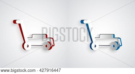 Paper Cut Lawn Mower Icon Isolated On Grey Background. Lawn Mower Cutting Grass. Paper Art Style. Ve