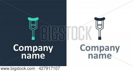 Logotype Crutch Or Crutches Icon Isolated On White Background. Equipment For Rehabilitation Of Peopl