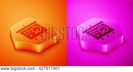 Isometric Scenario On Chalkboard Icon Isolated On Orange And Pink Background. Script Reading Concept