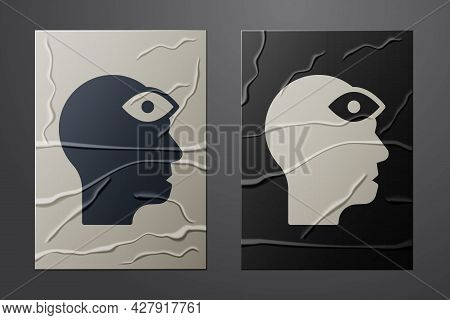 White Man With Third Eye Icon Isolated On Crumpled Paper Background. The Concept Of Meditation, Visi