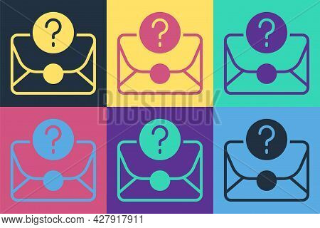 Pop Art Envelope With Question Mark Icon Isolated On Color Background. Letter With Question Mark Sym