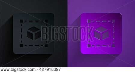 Paper Cut Geometric Figure Cube Icon Isolated On Black On Purple Background. Abstract Shape. Geometr