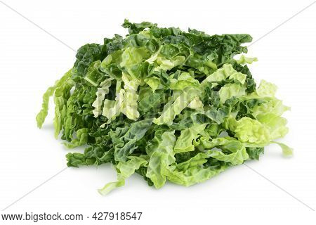 Chopped Savoy Cabbage Isolated On White Background With Clipping Path And Full Depth Of Field