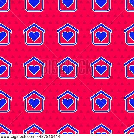 Blue Shelter For Homeless Icon Isolated Seamless Pattern On Red Background. Emergency Housing, Tempo